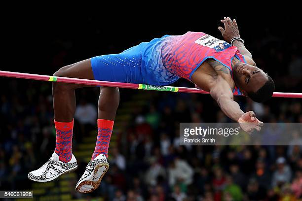 Erik Kynard competes on his way to placing first in the Men's High Jump Final during the 2016 US Olympic Track Field Team Trials at Hayward Field on...