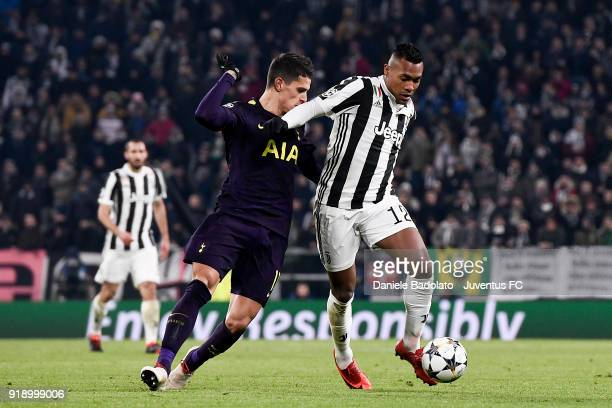 Erik Lamela and Alex Sandro during the UEFA Champions League Round of 16 First Leg match between Juventus and Tottenham Hotspur at Allianz Stadium on...
