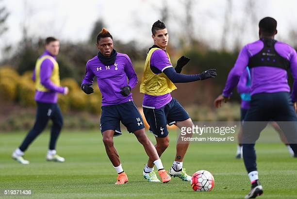 Erik Lamela and Clinton Njie in action during Tottenham Hotspur training session at Hotspur Way on April 6 2016 in Enfield England