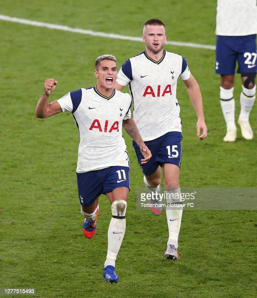 Erik Lamela and Eric Dier of Tottenham Hotspur during the Carabao Cup fourth round match between Tottenham Hotspur and Chelsea at Tottenham Hotspur...