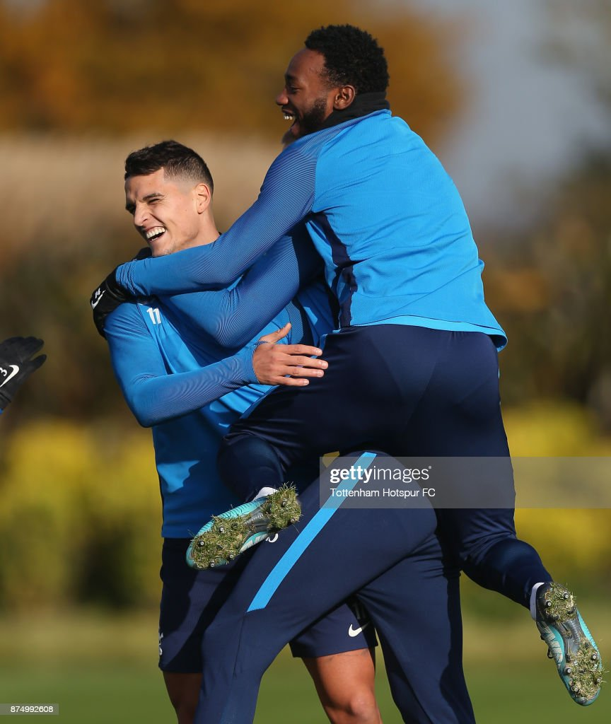 Erik Lamela and Georges-Kevin Nkoudou of Tottenham during the Tottenham Hotspur training session at Tottenham Hotspur Training Centre on November 16, 2017 in Enfield, England.