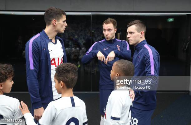 Erik Lamela Christian Eriksen and Giovani Lo Celso of Tottenham Hotspur during the FA Cup Third Round Replay match between Tottenham Hotspur and...