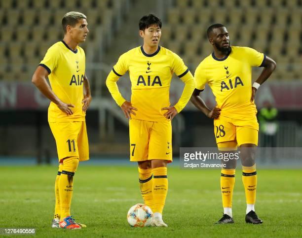 Erik Lamela HeungMin Son and Tanguy Ndombele of Tottenham Hotspur prepare to take a free kick during the UEFA Europa League third round qualifying...