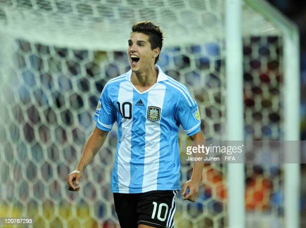 Erik Lamela of Argentina celebrates scoring from the penalty spot during the FIFA U20 World Cup Colombia 2011 round of 16 match between Argentina and...