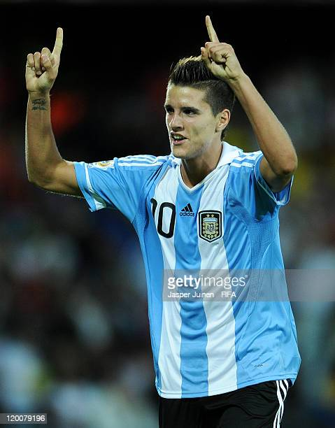 Erik Lamela of Argentina celebrates scoring the opening goal during the FIFA U20 World Cup Colombia 2011 group F match between Argentina and Mexico...