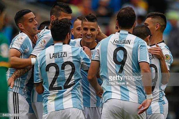 Erik Lamela of Argentina celebrates with teammates after scoring a goal against Bolivia during the 2016 Copa America Centenario Group D match at...