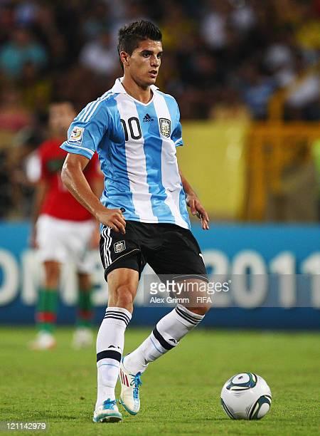Erik Lamela of Argentina controles the ball during the FIFA U20 World Cup 2011 quarter final match between Portugal and Argentina at Estadia Jaime...