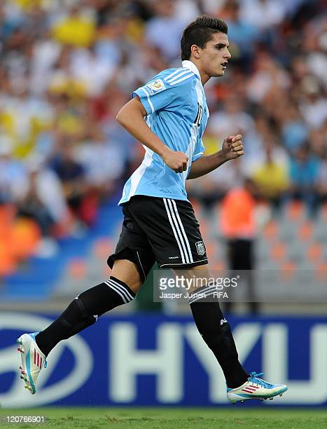 Erik Lamela of Argentina reacts after scoring from the penalty spot during the FIFA U20 World Cup Colombia 2011 round of 16 match between Argentina...