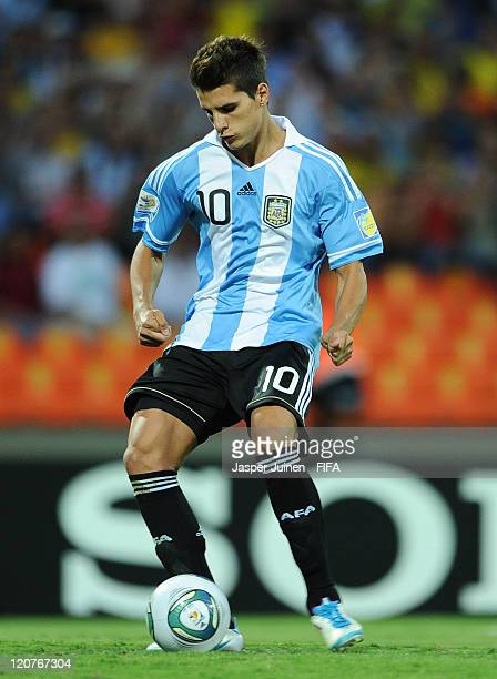 Erik Lamela of Argentina scores from the penalty spot during the FIFA U20 World Cup Colombia 2011 round of 16 match between Argentina and Egypt at...
