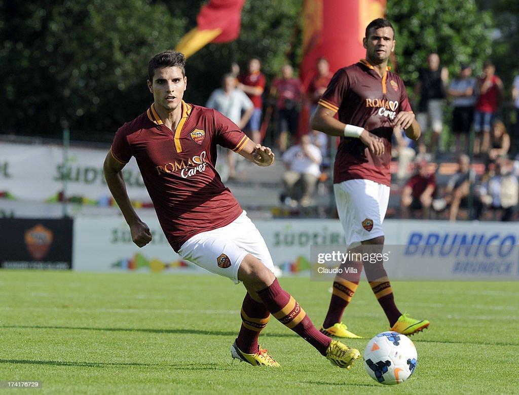Erik Lamela of AS Roma in action during the pre-season friendly match between AS Roma and Bursaspor Kulubu on July 21, 2013 in Bruneck, Italy.