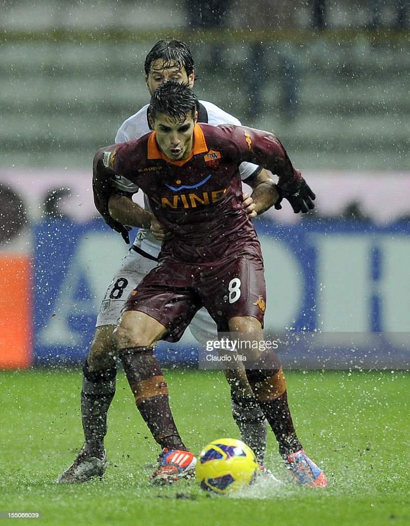 Erik Lamela of AS Roma in action during the Serie A match between Parma FC and AS Roma at Stadio Ennio Tardini on October 31, 2012 in Parma, Italy.