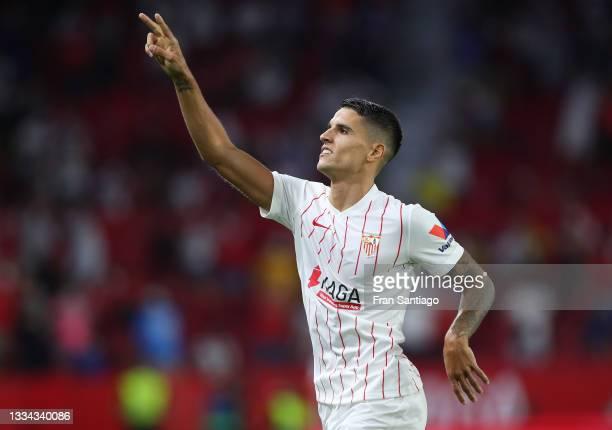 Erik Lamela of Sevilla celebrates after scoring their team's second goal during the La Liga Santader match between Sevilla FC and Rayo Vallecano at...