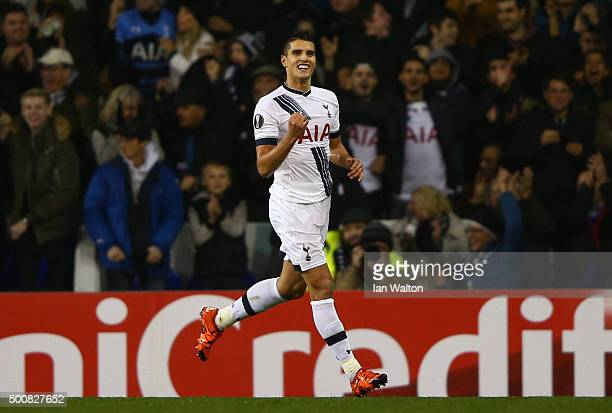 Erik Lamela of Spurs celebrates after scoring his team's second goal during the UEFA Europa League Group J match between Tottenham Hotspur and AS...