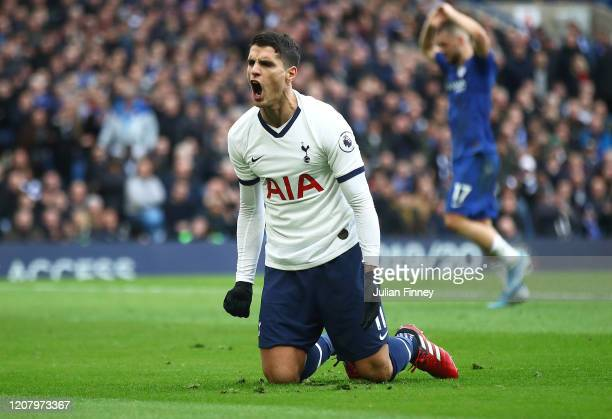 Erik Lamela of Spurs celebrates his teams goal during the Premier League match between Chelsea FC and Tottenham Hotspur at Stamford Bridge on...