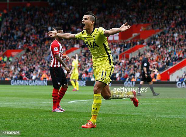 Erik Lamela of Spurs celebrates scoring their first goal uring the Barclays Premier League match between Southampton and Tottenham Hotspur at St...