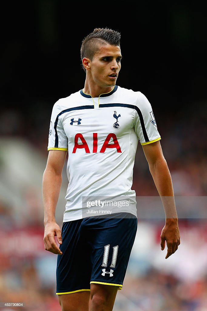 Erik Lamela of Spurs in action during the Barclays Premier League match between West Ham United and Tottenham Hotspur at Boleyn Ground on August 16, 2014 in London, England.