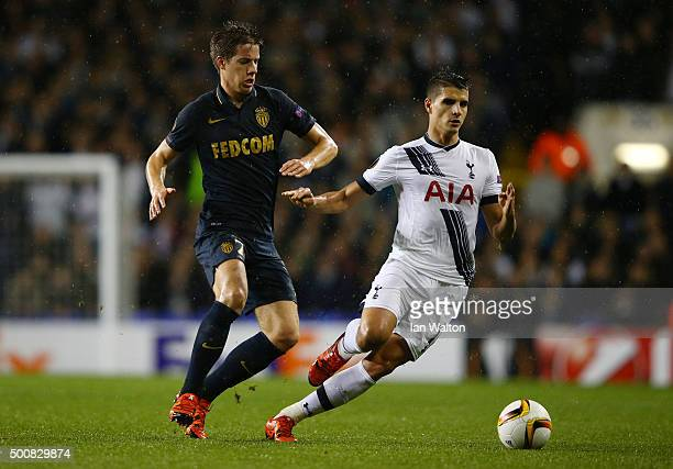 Erik Lamela of Spurs is closed down by Mario Pasalic of Monaco during the UEFA Europa League Group J match between Tottenham Hotspur and AS Monaco at...