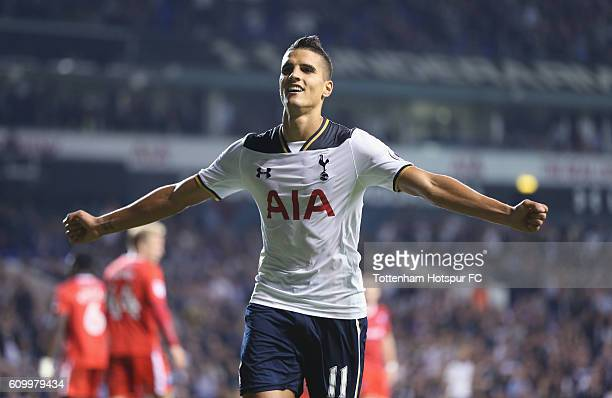 Erik Lamela of Tottenham celebrates after scoring their fifth goal during the EFL Cup Third Round match between Tottenham Hotspur and Gillingham at...