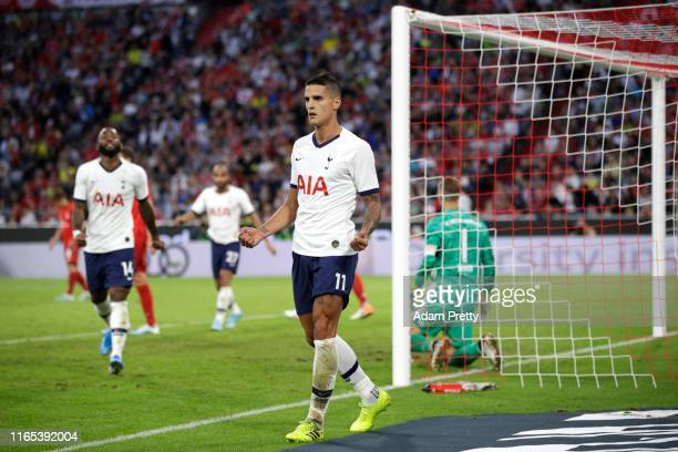 Erik Lamela of Tottenham celebrates scoring his sides first goal during the Audi cup 2019 final match between Tottenham Hotspur and Bayern Muenchen...