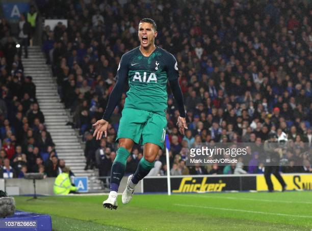 Erik Lamela of Tottenham celebrates scoring their 2nd goal during the Premier League match between Brighton Hove Albion and Tottenham Hotspur at...