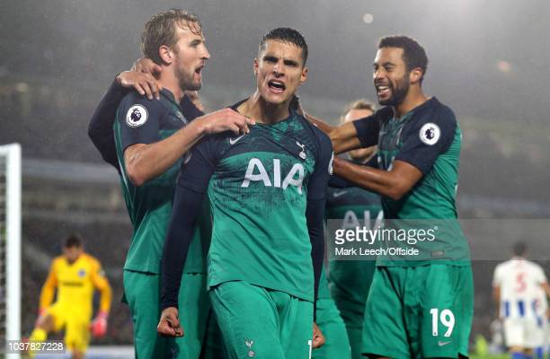 Erik Lamela of Tottenham celebrates scoring their 2nd goal with his team during the Premier League match between Brighton Hove Albion and Tottenham...