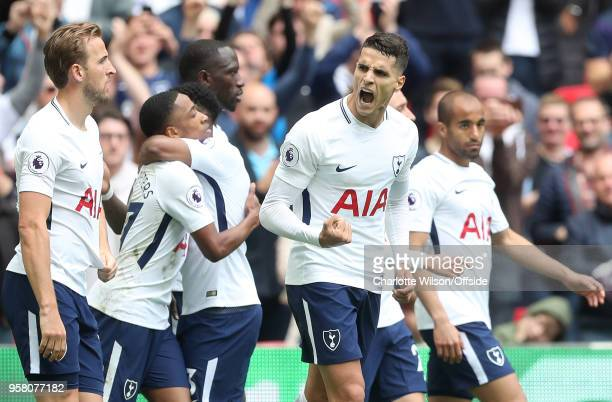 Erik Lamela of Tottenham celebrates scoring their 4th goal and a hattrick during the Premier League match between Tottenham Hotspur and Leicester...