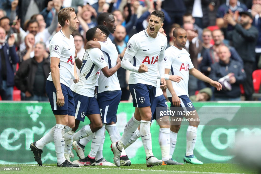 Erik Lamela of Tottenham celebrates scoring their 4th goal and a hat-trick during the Premier League match between Tottenham Hotspur and Leicester City at Wembley Stadium on May 13, 2018 in London, England.