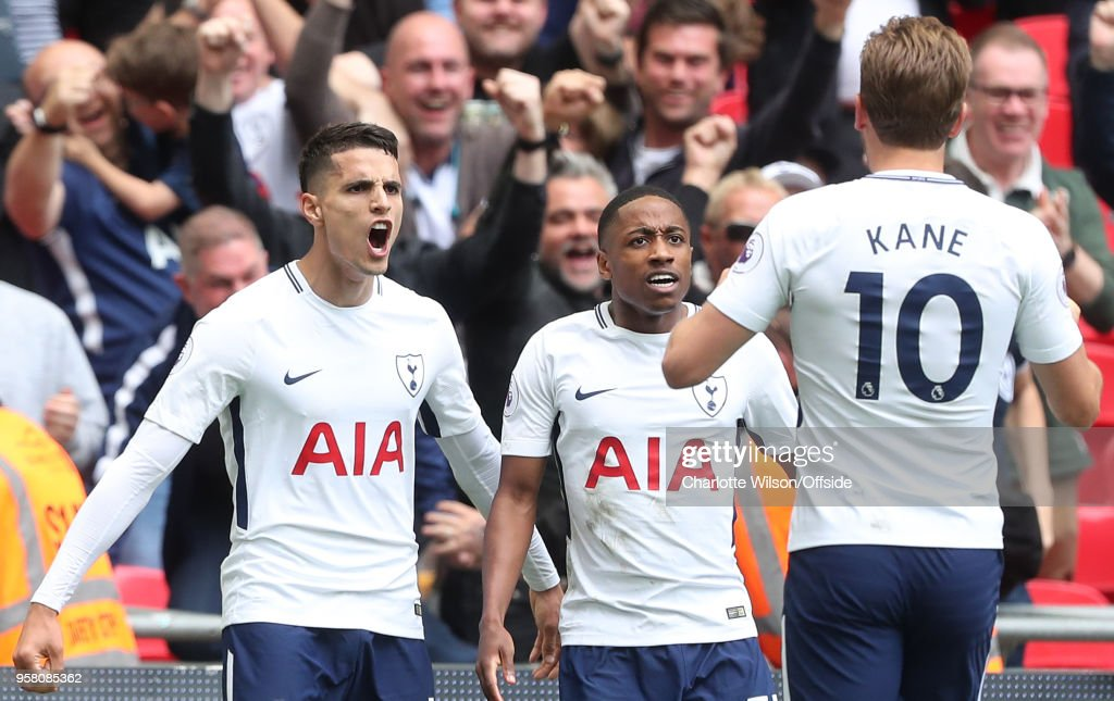 Erik Lamela of Tottenham celebrates scoring their 4th goal during the Premier League match between Tottenham Hotspur and Leicester City at Wembley Stadium on May 13, 2018 in London, England.