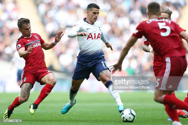 Erik Lamela of Tottenham comes up against the Fulham defence during the Premier League match between Tottenham Hotspur and Fulham FC at Wembley...