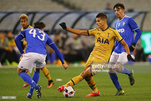 Erik Lamela of Tottenham controls the ball from Yoan Severin of Juventus during the 2016 International Champions Cup match between Juventus FC and...