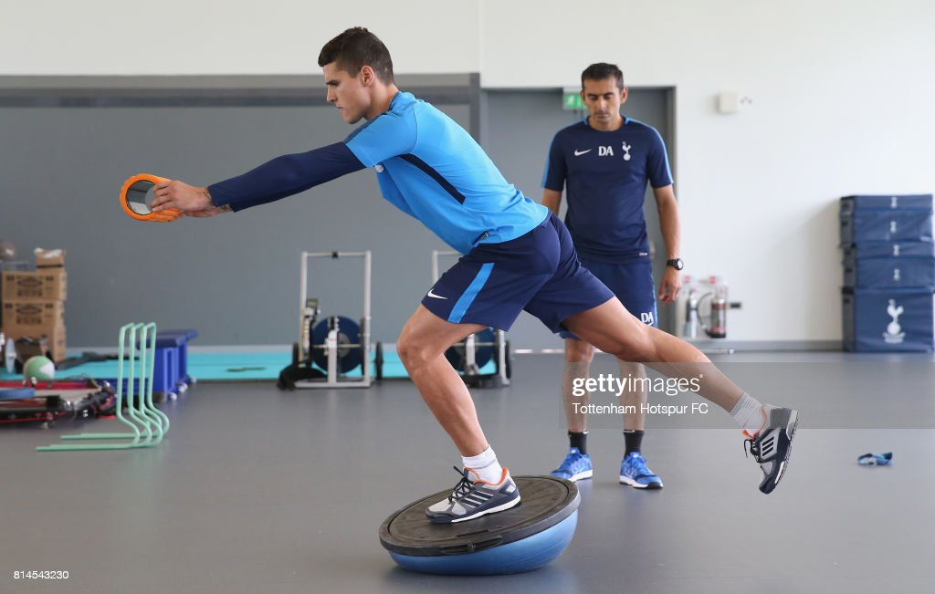 Erik Lamela of Tottenham during the Tottenham Hotspur training session at Tottenham Hotspur Training Centre on July 14, 2017 in Enfield, England.