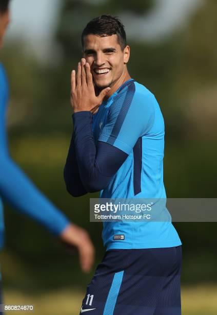 Erik Lamela of Tottenham during the Tottenham Hotspur training session at Tottenham Hotspur Training Centre on October 12 2017 in Enfield England