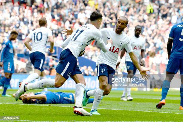 Erik Lamela of Tottenham Hostpur celebrates with Lucas Moura of Tottenham Hostpur after scoring his second goal during the Premier League match...
