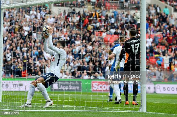 Erik Lamela of Tottenham Hostpur collects the ball after scoring his second goal during the Premier League match between Tottenham Hotspur and...