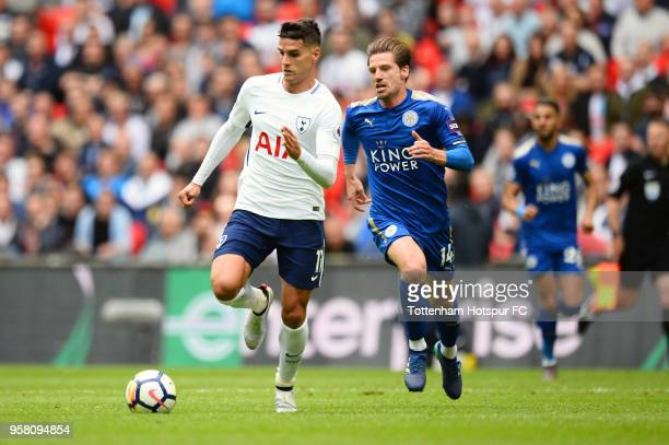 Erik Lamela of Tottenham Hostpur run with the ball during the Premier League match between Tottenham Hotspur and Leicester City at Wembley Stadium on...
