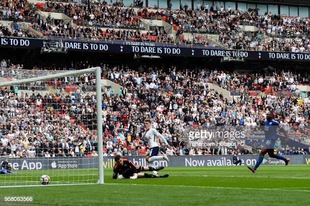 Erik Lamela of Tottenham Hostpur scores his 3rd goal during the Premier League match between Tottenham Hotspur and Leicester City at Wembley Stadium...
