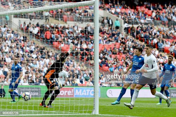 Erik Lamela of Tottenham Hostpur scores his second goal during the Premier League match between Tottenham Hotspur and Leicester City at Wembley...