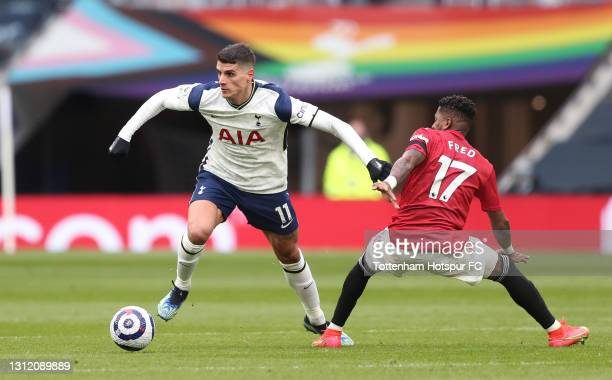 Erik Lamela of Tottenham Hotspur and Fred of Manchester United during the Premier League match between Tottenham Hotspur and Manchester United at...