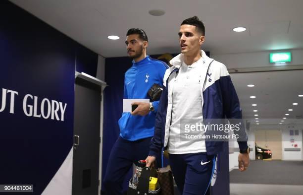 Erik Lamela of Tottenham Hotspur and Paulo Gazzaniga of Tottenham Hotspur arrive at the stadium prior to the Premier League match between Tottenham...