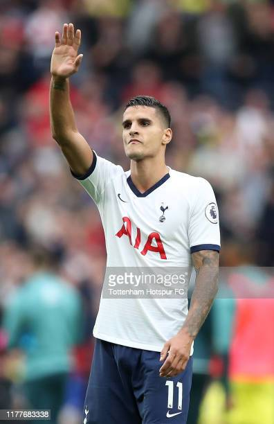 Erik Lamela of Tottenham Hotspur applauds fans after the Premier League match between Tottenham Hotspur and Southampton FC at Tottenham Hotspur...