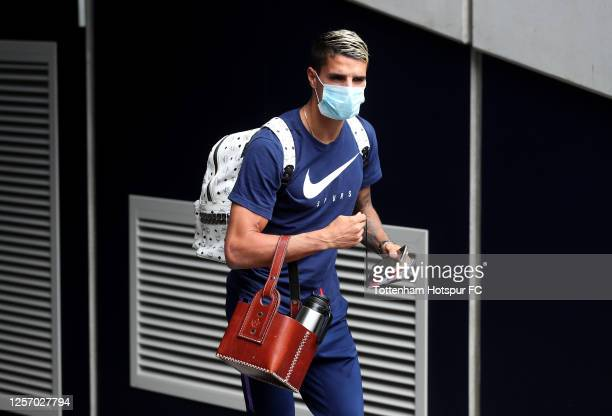 Erik Lamela of Tottenham Hotspur arrives at the stadium prior to during the Premier League match between Tottenham Hotspur and Leicester City at...