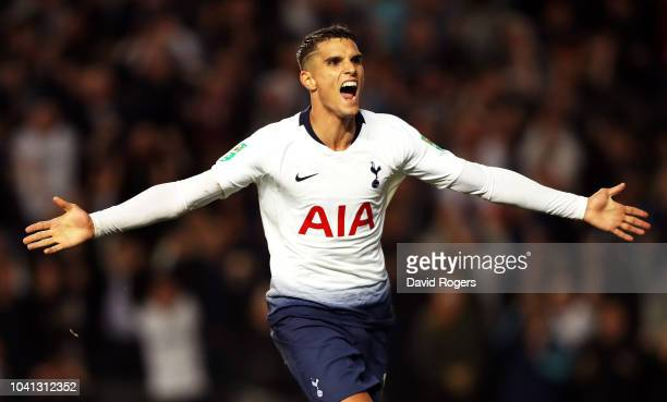 Erik Lamela of Tottenham Hotspur celebrates after he scores his sides second goal during the Carabao Cup Third Round match between Tottenham Hotspur...