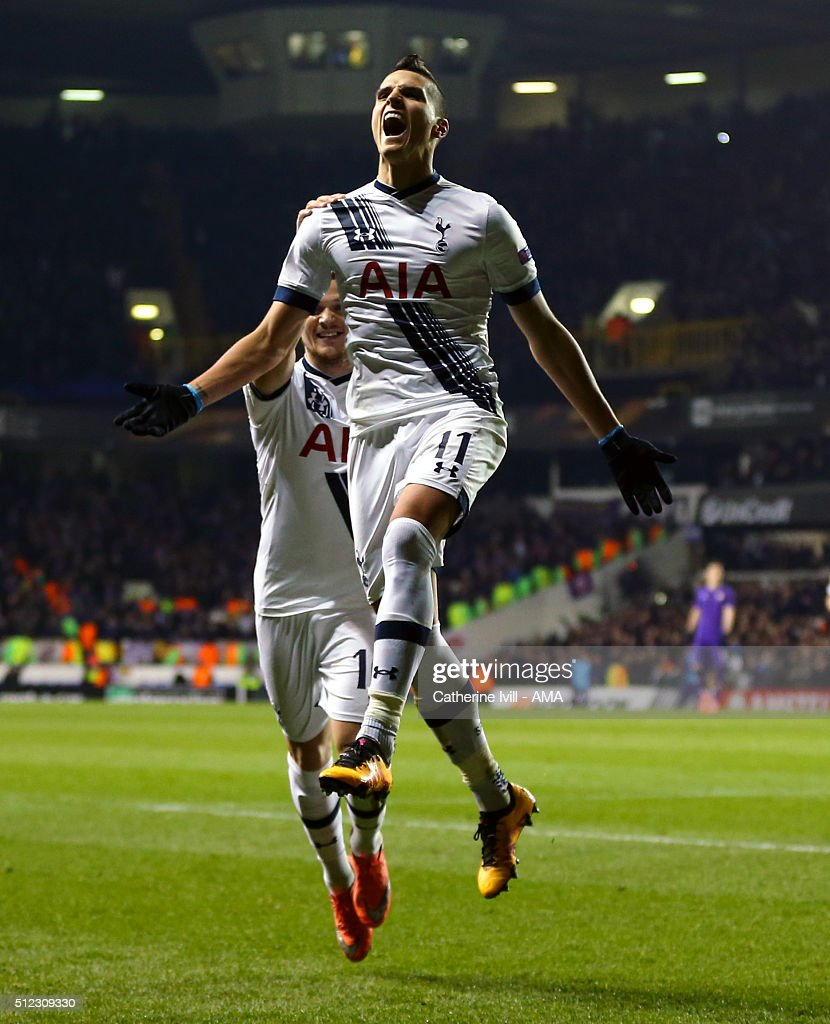 Erik Lamela of Tottenham Hotspur celebrates after he scores to make it 2-0 during the UEFA Europa League match between Tottenham Hotspur and Fiorentina at White Hart Lane on February 25, 2016 in London, United Kingdom.