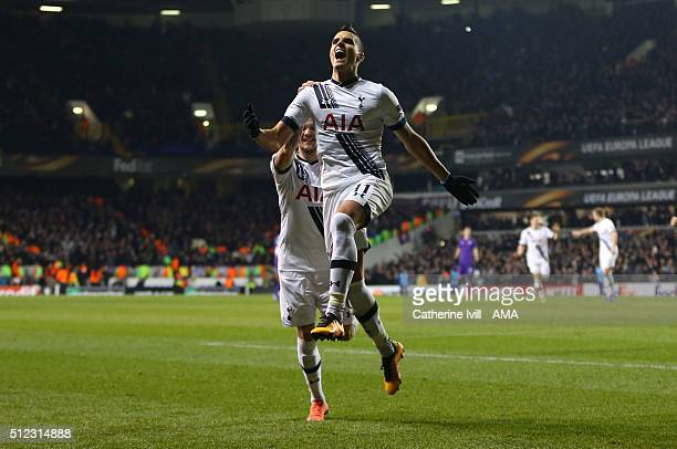 Erik Lamela of Tottenham Hotspur celebrates after he scores to make it 20 during the UEFA Europa League match between Tottenham Hotspur and...