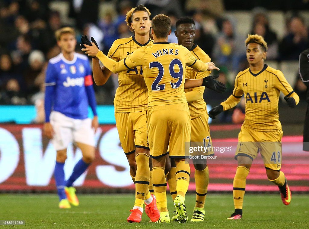 XX Erik Lamela of Tottenham Hotspur celebrates after scoring a goal during the 2016 International Champions Cup match between Juventus FC and Tottenham Hotspur at Melbourne Cricket Ground on July 26, 2016 in Melbourne, Australia.