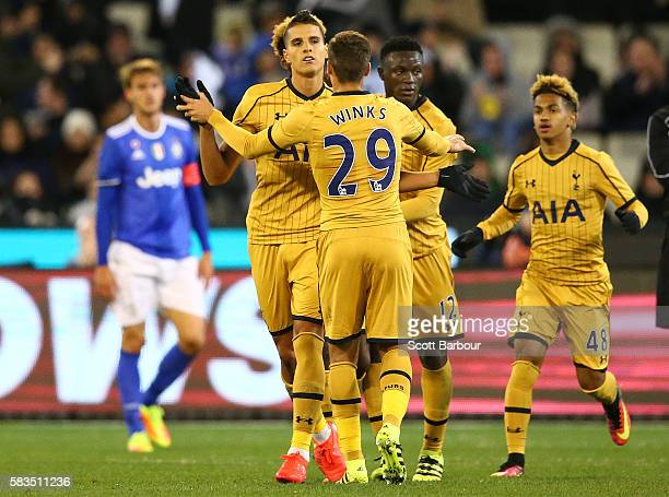 Erik Lamela of Tottenham Hotspur celebrates after scoring a goal during the 2016 International Champions Cup match between Juventus FC and Tottenham...