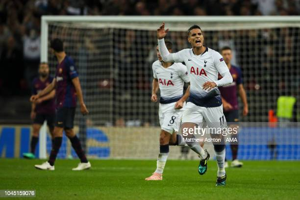 Erik Lamela of Tottenham Hotspur celebrates after scoring a goal to make it 23 during the Group B match of the UEFA Champions League between...