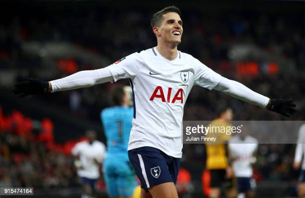 Erik Lamela of Tottenham Hotspur celebrates after scoring his sides second goal during The Emirates FA Cup Fourth Round Replay match between...