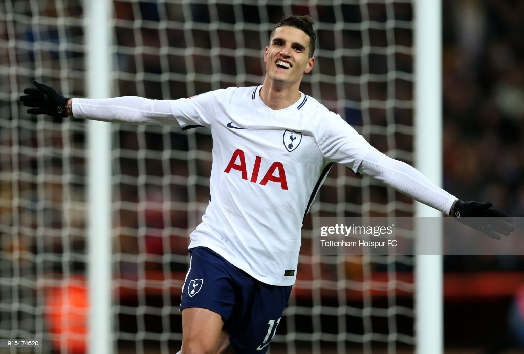 Erik Lamela of Tottenham Hotspur celebrates after scoring his sides second goal during The Emirates FA Cup Fourth Round Replay match between Tottenham Hotspur and Newport County at Wembley Stadium on February 7, 2018 in London, England.