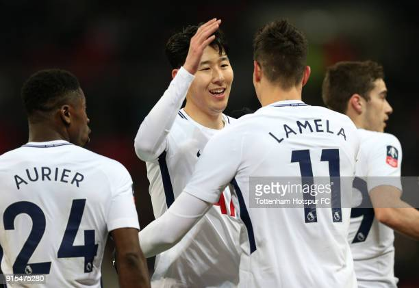 Erik Lamela of Tottenham Hotspur celebrates after scoring his sides second goal with HeungMin Son of Tottenham Hotspur during The Emirates FA Cup...